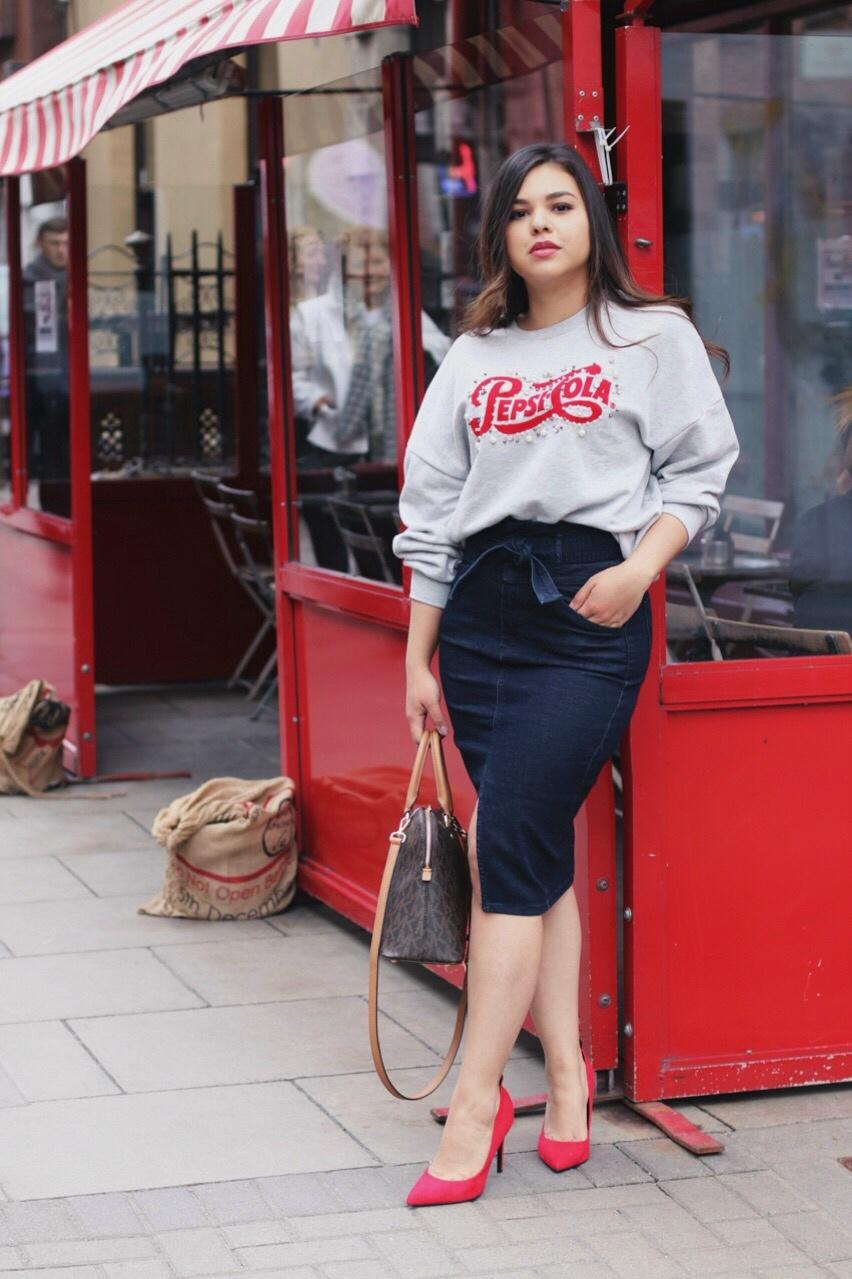 Denim skirt outfit spring 2018