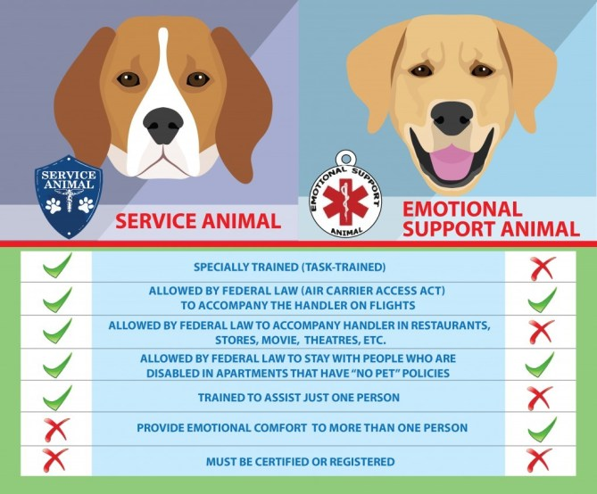 what makes indiana a service dog and not an emotional support dog