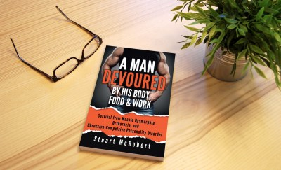 A Man Devoured by His Body, Food & Work book on table