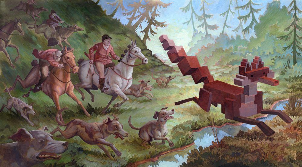 Scène de chasse en peinture, le renard chassé est en pixel 3D