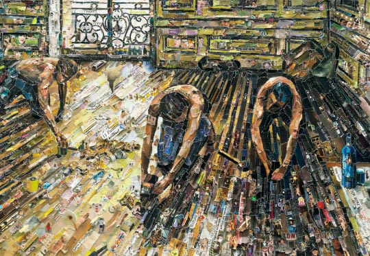 Les raboteurs de parquet de Gustave Caillebotte en papier de magazine par Vik Muniz