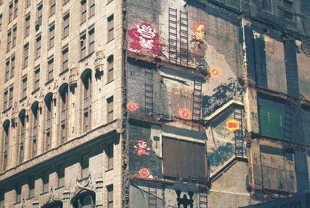 Donkey Kong sur les traces d'étages d'un immeuble demoli