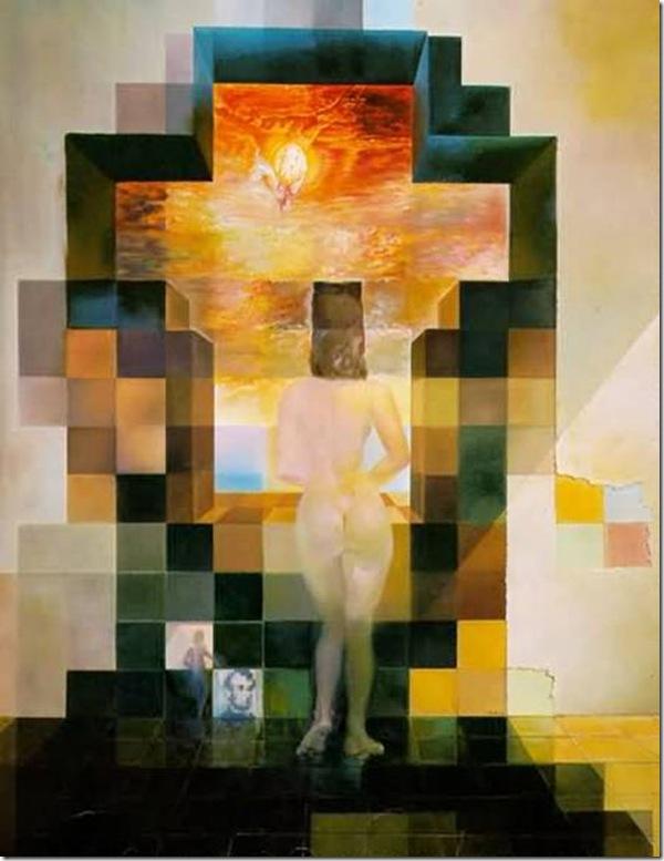 Oeuvre de Dali : Gala nue regarde la mer et autour d'elle des pixels forment le visage de Lincoln