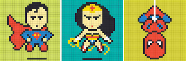 Grille Superman wonderwoman et spiderman