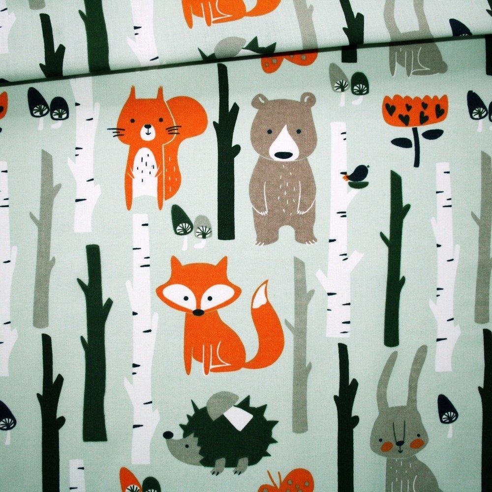 tissu renard ours ecureuil lapin