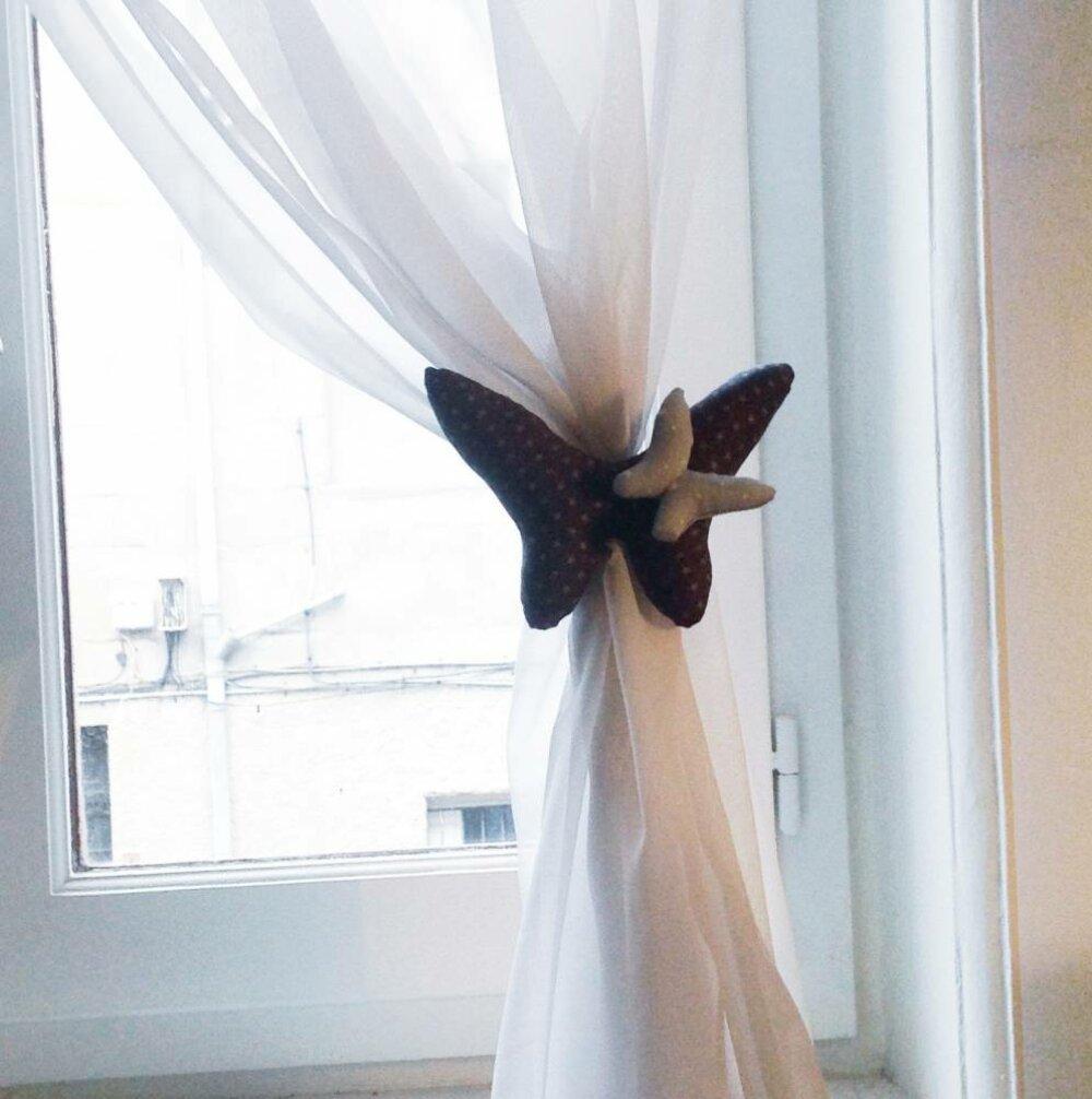 rideaux forme papillon bleu