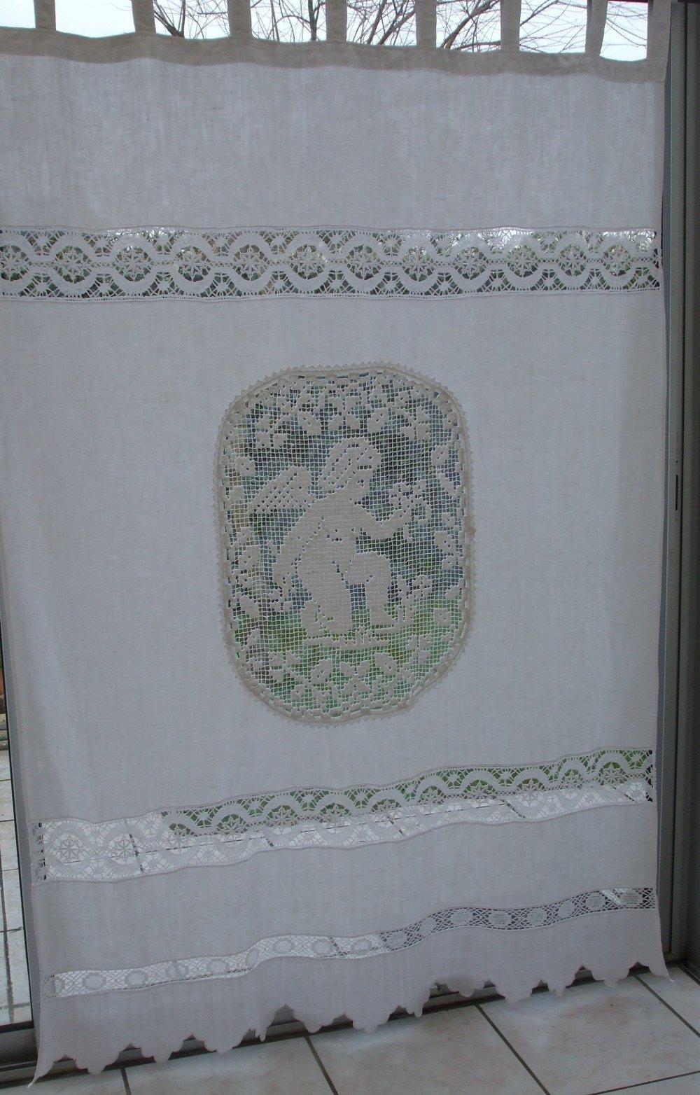 grand rideau en fil de lin avec