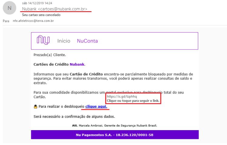 E-mail malicioso com a mensagem de bloqueio parcial do cartão falsa