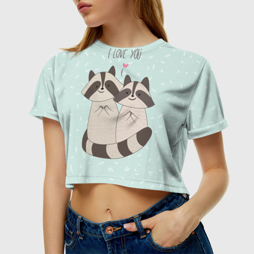 Влюбленные еноты Женская футболка Crop-top 3D с принтом за ...