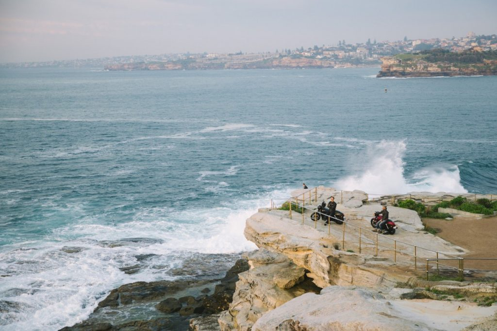 An Urban Adventure // Sydney (NSW) Henry Brydon, Photo Daniel Bolt, ocean, railings, lookout, point, waves, spray, motorbikes, sydney harbour