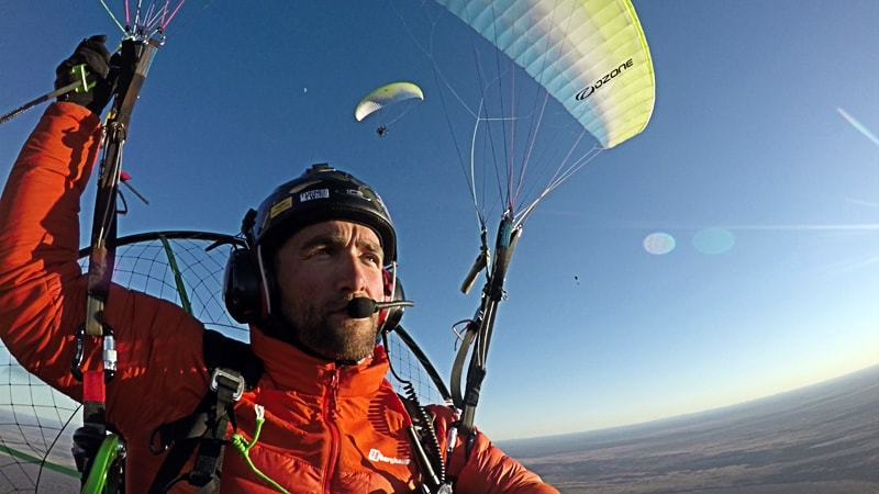 The Twins who Flew to the Australian Red Pole Henry Brydon, paramotor, helmet, flying, sky, selfie