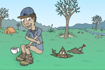 aidan howes, how to poo in the bush, illustration, list, leave no trace, pack it out