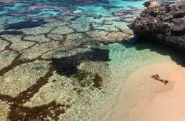 Paradise Found, Near Perth // Rottnest Island (WA) Tiffany Hulm, rocks, sand, beach, sun baking, sunbather, clear water