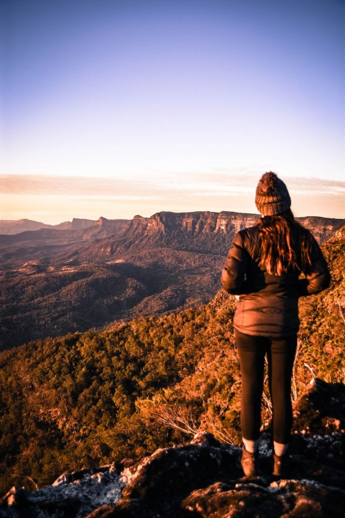 Does Your Loungeroom Have A View Like This? // Main Range NP (QLD) Lisa Owen_Ramparts view, beanie, down jacket,