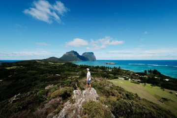 Lord Howe Island's Top 8 Adventures, Matt Horspool, Mt Gower, Malabar to Mt Eliza circuit, sea view, headland, grass, rocks, view, sky
