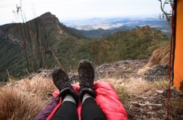 Best Outdoor Nap Spots Near Brisbane (QLD), Lisa Owen, _LaidleyCkFalls, feet, boots, sleeping bag, mountain, view