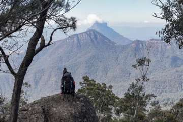 My First Overnight Hike // Mt Barney (QLD), Lisa Owen, view, rock, backpack, peaks