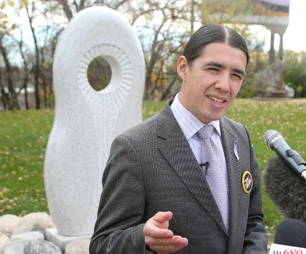 Mayoral candidate Robert-Falcon Ouellette speaks about murdered and missing Aboriginal women at a press conference in Winnipeg, Man. Sunday, October 19, 2014.