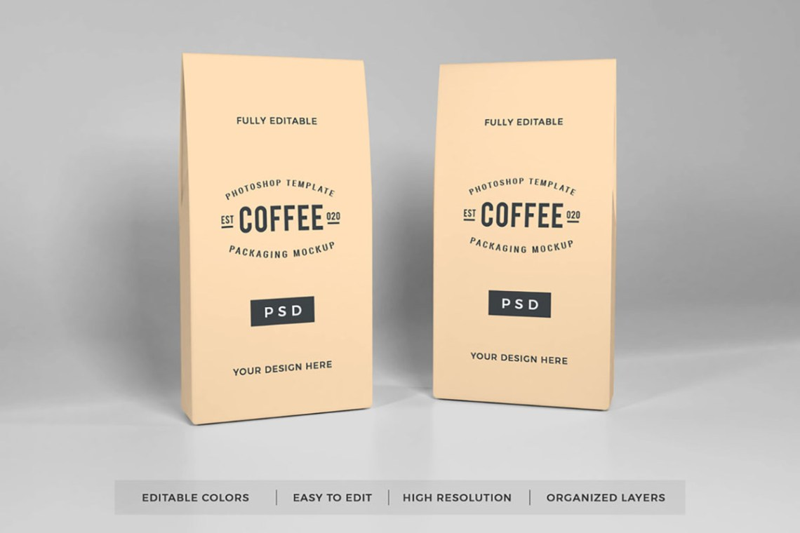 Download Free Coffee Packaging Mockup ~ rpstock