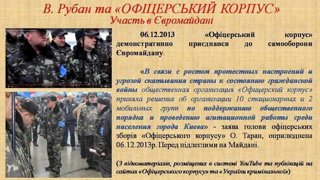Рубан - российский политический проект: презентация СБУ о деятельности руководителя Офицерского корпуса 17