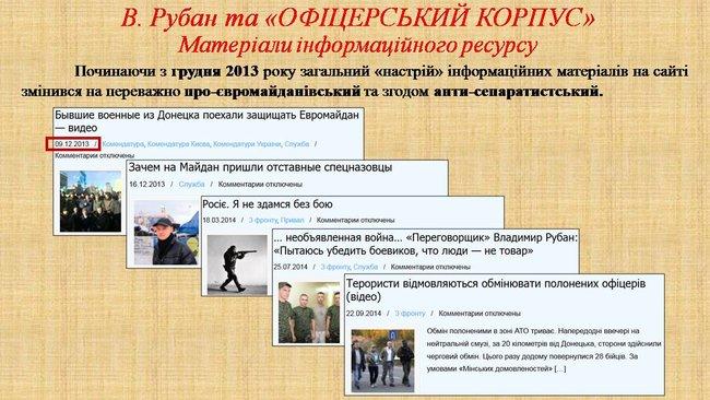 Рубан - российский политический проект: презентация СБУ о деятельности руководителя Офицерского корпуса 16