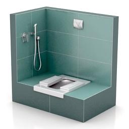 Lavatory pan squat toilet N301213 - 3D model (*.gsm+*.3ds ... on Model Toilet Design  id=54189