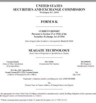 Seagate SEC filings outlining move