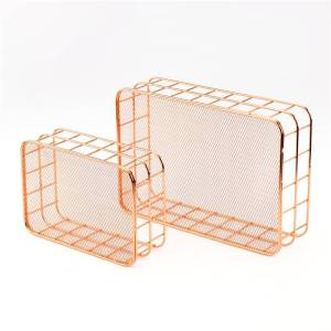 Nordic Basket in Gold and Rose Gold Basement & Attic Storage Size : 9 x 10.5 cm / 3.54 x 4.13 inch 9 x 10 cm / 3.54 x 3.94 inch 17 x 12 cm / 6.69 x 4.72 inch 24.7 x 16.5 cm / 9.72 x 6.50 inch 