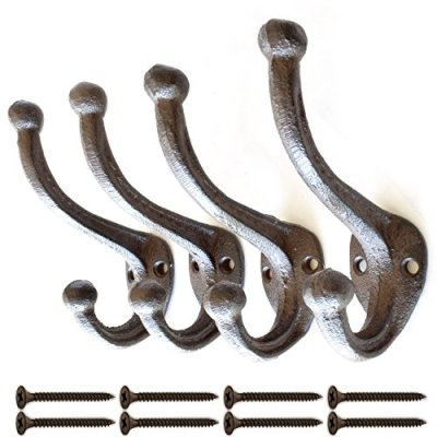 Black Rustic Cast Iron, Wall Mounted Hooks (Set of 4) Vintage Inspired | Modern Farmhouse | Coats, Bags, Hats, Towels… | Matching Screws Included | by My Fancy Farmhouse (Large Simple, Brown/Black)