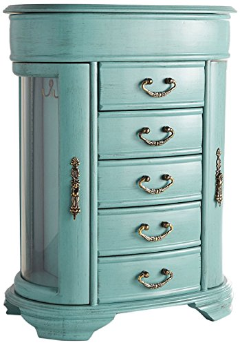 Hives & Honey Daphne Oval Glass Turquoise Jewelry Chest Jewelry Organizer Box
