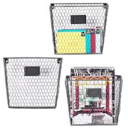MyGift Rustic Metal Wire Wall-Mounted Magazine & File Organizer Rack w/Erasable Chalkboard Labels, Set of 3