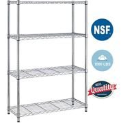 "4Shelf Wire Shelving Unit Garage Large Storage Shelves Heavy Duty NSF Wire Shelf Metal Height Adjustable Commercial Grade Steel Layer Rack Organizer with 1000 LBS Capacity 14""Dx36""Wx54""H,Chrome"