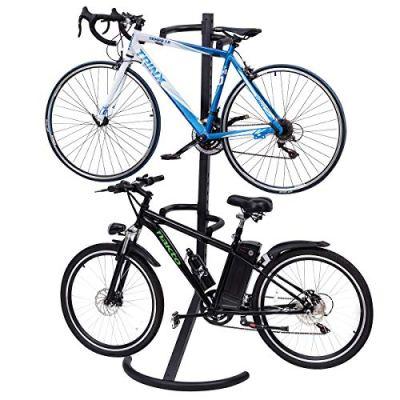 Goplus Gravity Freestanding Bike Stand Adjustable Height Two-Bike Storage