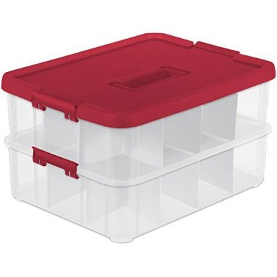 Ornament Storage Box, Red Lid and Handle