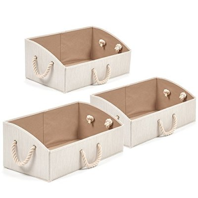 Set of 3 Large Storage Bins EZOWare Foldable Bamboo Fabric Trapezoid Organizer Boxes with Cotton Rope Handle, Collapsible Basket for Shelves, Closet, Baby Toys, Diaper, and More (Beige)