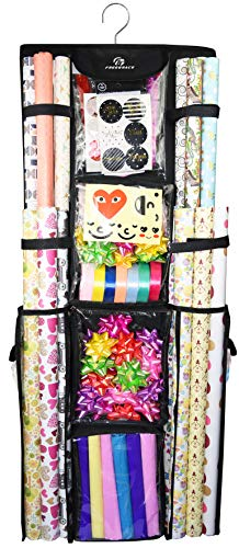 "Freegrace Double Sided Hanging Gift Wrap Organizer | Large 16"" x 41"" Wrapping Paper Rolls Storage Bag 