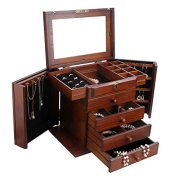 Rowling Extra Large Wooden Jewelry Box/Jewel Case Cabinet Armoire Ring Necklacel Gift Storage Box Organizer Mg002 (Brown)