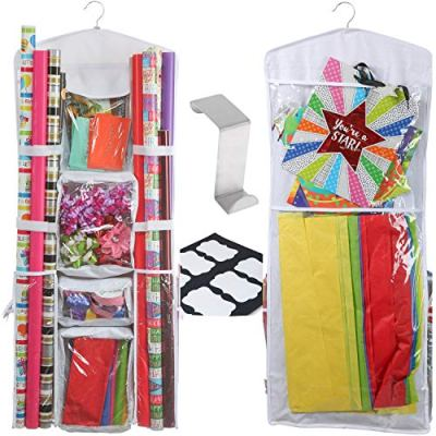 Clorso Wrapping Paper Storage Fits 40 Inch Wrap Rolls with 1 Bonus Door Hook and 8 Labels (White)