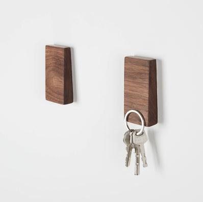 Walden Theory™ Minimalistic Magnetic Wooden Key Holder, Fridge Magnet, Key Hook Organizer, Key Rack, Modern Chic Stylish Original Design, Handcrafted, Key Ring Included (Slope)