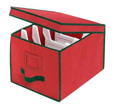 Whitmor Christmas Light Box Organizer Red with Green Trim