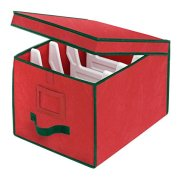 Whitmor Christmas Light Box Organizer Red with Green Trim