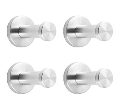 """NELXULAS Brushed Stainless Steel Short Bath Towel Hooks Single Super Heavy Duty Wall Mount Hook, Fit for Bedroom,Living Room, Bathroom and Fitting Room, Office,Set of 4 in Pack (2"""", 4 PCS)"""