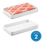 InterDesign Gia Countertop Guest Towel Tray, Bathroom Vanity Organizer - Set of 2 White