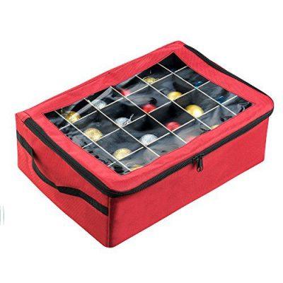 Tiny Tim Totes | Premium | 48 Christmas Ornament Organizer Storage Box | Red Case