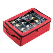 Tiny Tim Totes | Premium | 48 Christmas Ornament Organizer Storage Box | Red Case