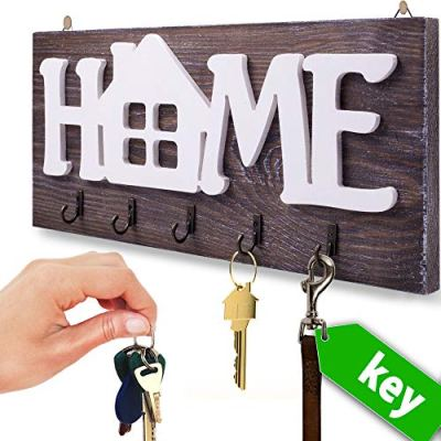 """I.S.Company- Key Holder for Wall """"Home"""" Natural Wood   Decorative Key Hooks Ring Holder w/ 5 Hooks, Rustic House Holder for Living Area, Kitchen   Wall-Mounted Keyring Rack Home Holder(Special Brown)"""