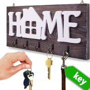 "I.S.Company- Key Holder for Wall ""Home"" Natural Wood 