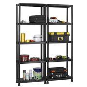 VonHaus 5 Tier Garage Shelving Unit with Wall Brackets (Pack of 2) - Black Plastic Interlocking Utility Storage Shelves - Each Unit: 68 x 24 x 12 inches