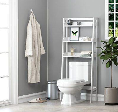 UTEX 3-Shelf Bathroom Organizer Over The Toilet, Bathroom Spacesaver, White Finish