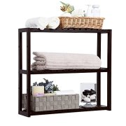 SONGMICS 3-Tier Small Utility Storage Rack, Bamboo Adjustable Layer Bathroom Towel Shelf Multifunctional Kitchen Living Room Holder Wall Mounted Brown UBCB13Z